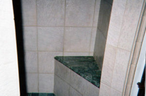 bathroom tile seat